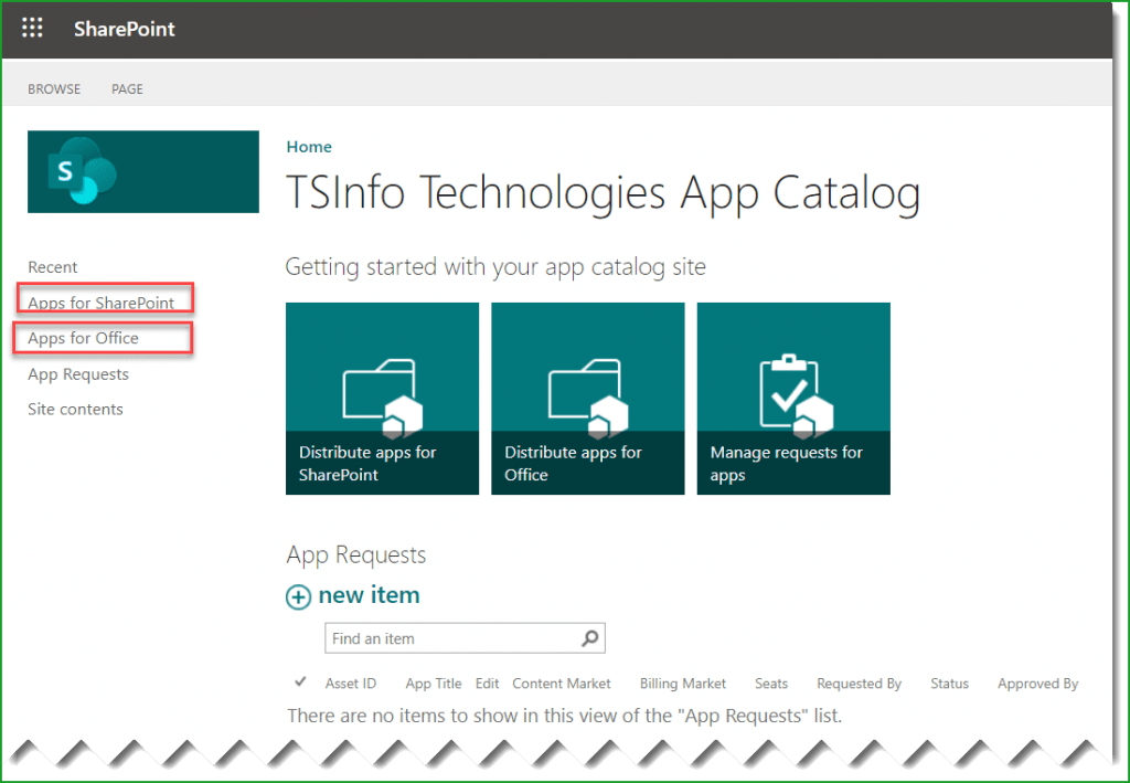 create app catalog sharepoint online office 365