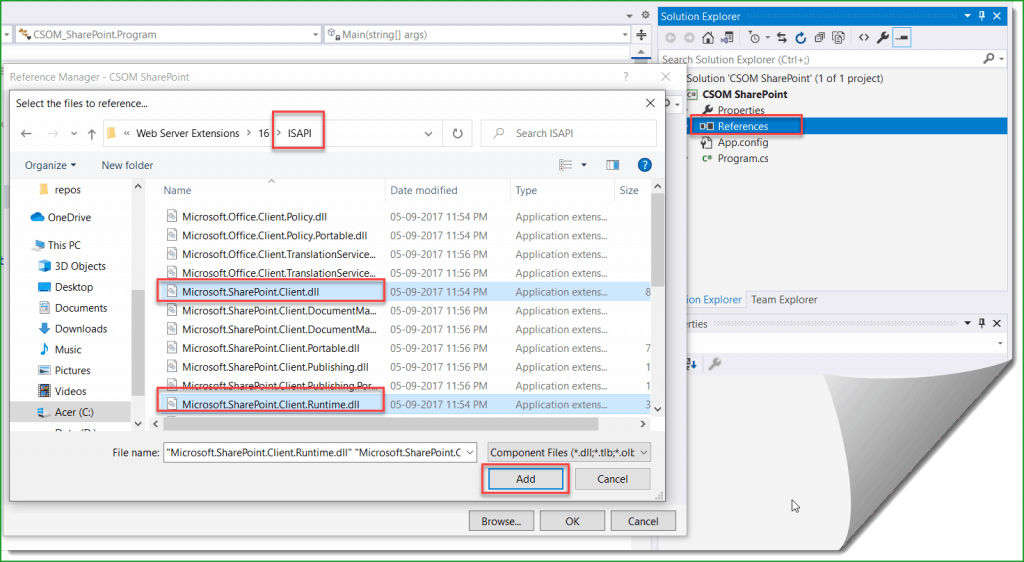 create console application for csom sharepoint online