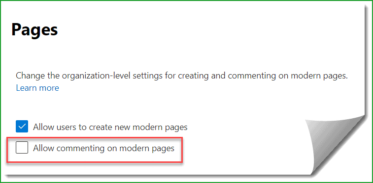 disable comments in sharepoint online modern page