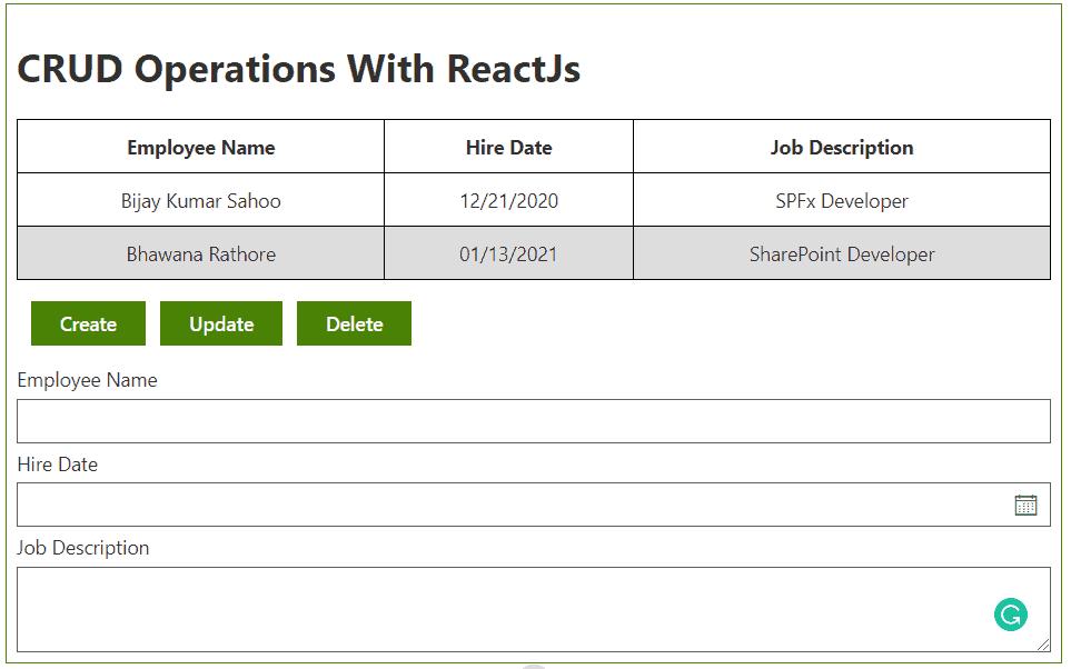 SharePoint framework crud operations using react