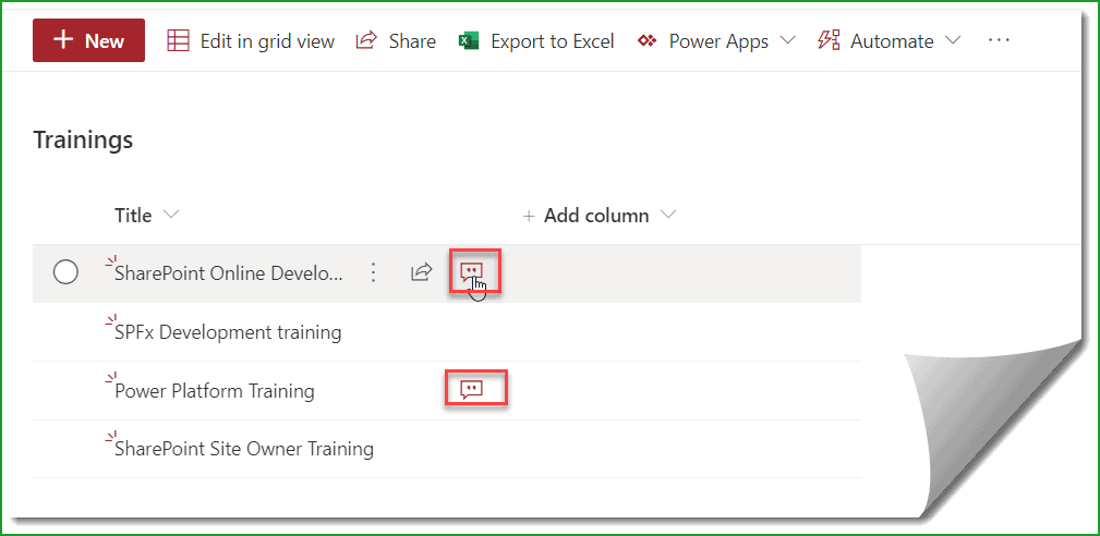 view comment to sharepoint list items