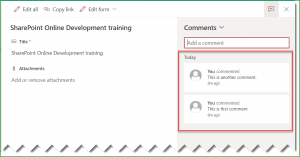 add Comments to SharePoint Online List Items
