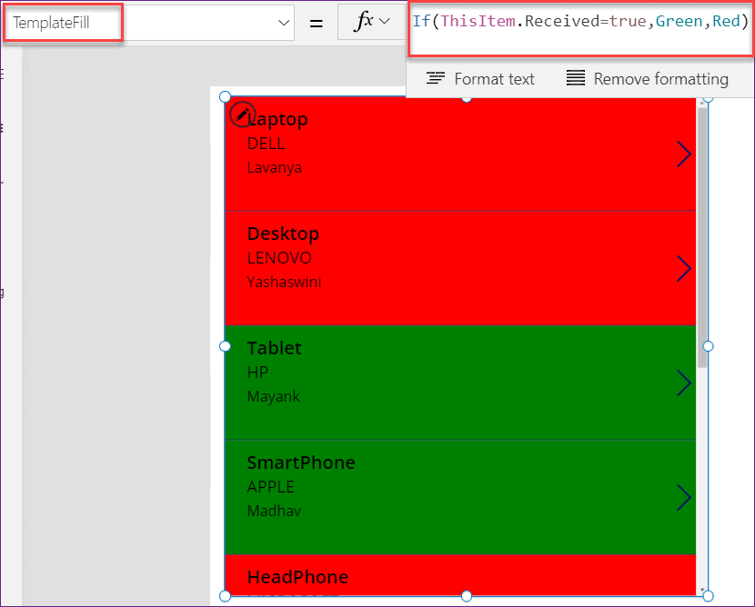 Power apps conditional formatting