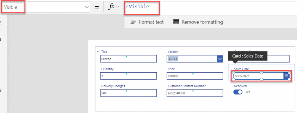 Power apps visible if statement
