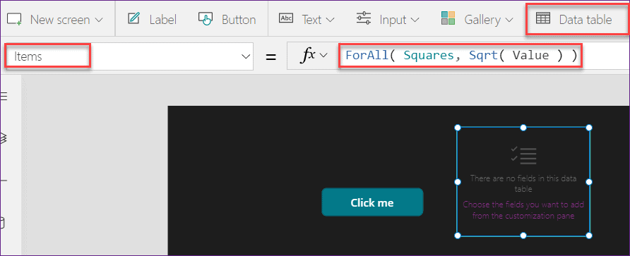PowerApps ForAll function example