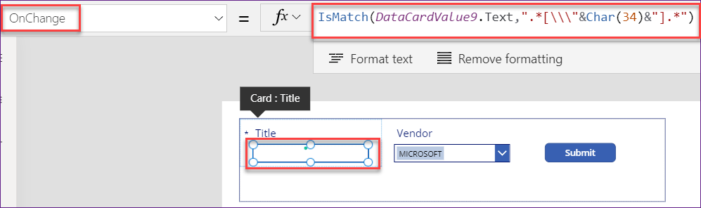 PowerApps remove special characters from string