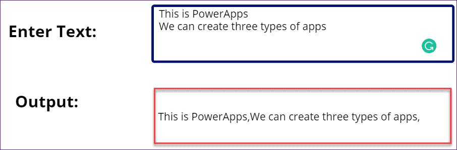 PowerApps replace Line breaking