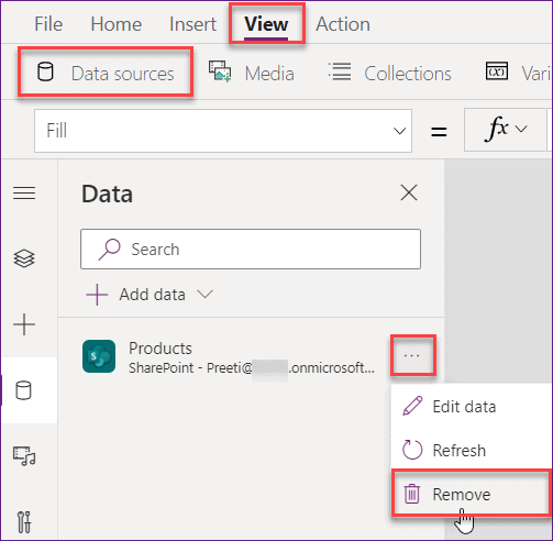 PowerApps replace data source