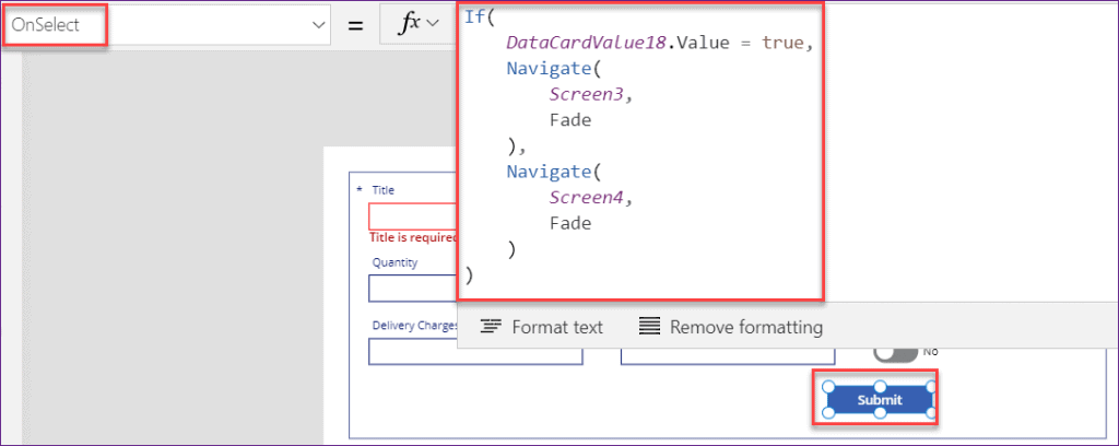 Powerapps OnSelect if statement