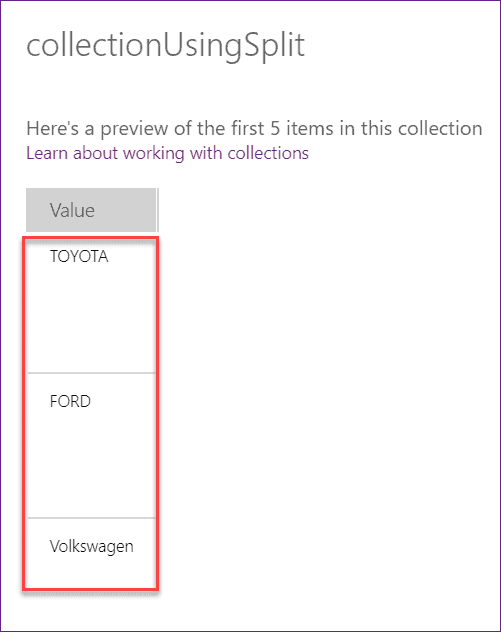 Powerapps forall splits