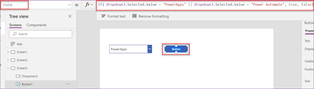 Powerapps if statement dropdown values
