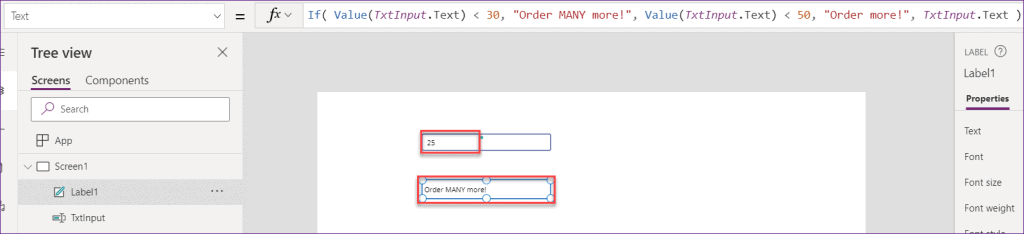 Powerapps if statement example