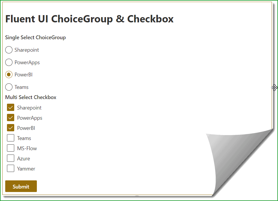 SharePoint Framework Fluent UI React ChoiceGroup and Checkbox Example