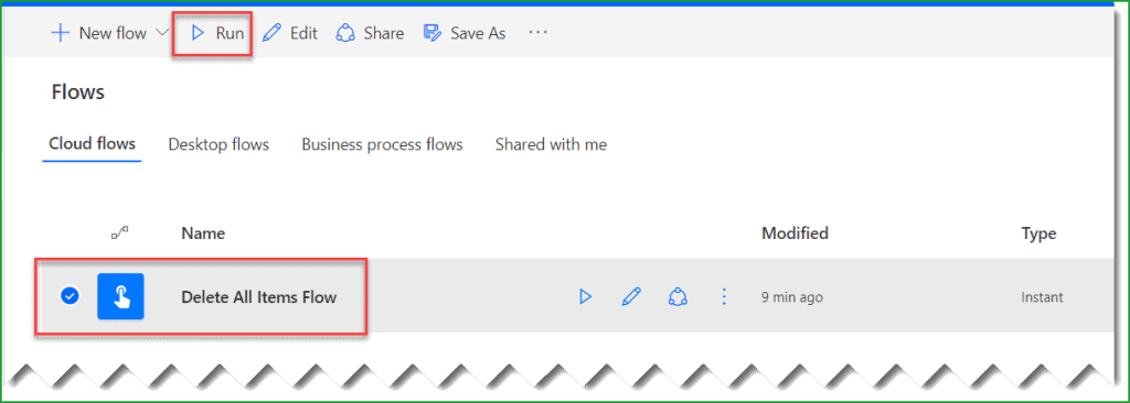 delete all items from sharepoint list power automate