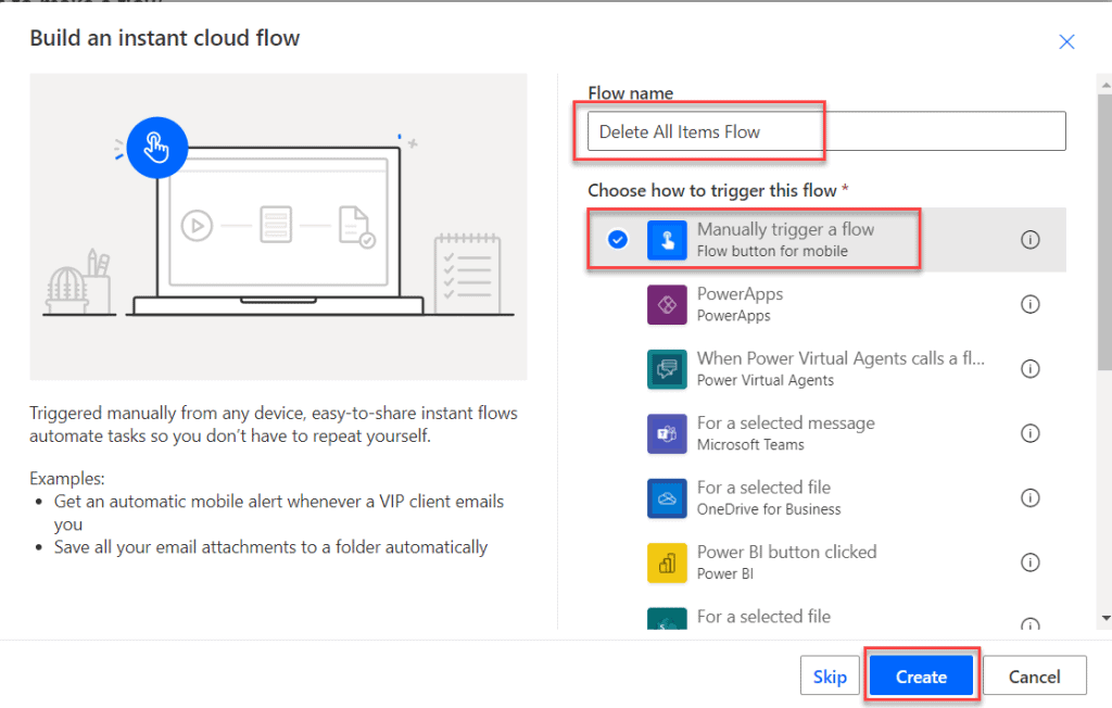delete all items from sharepoint list using flow