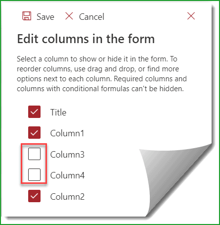 sharepoint online hide column in new item form