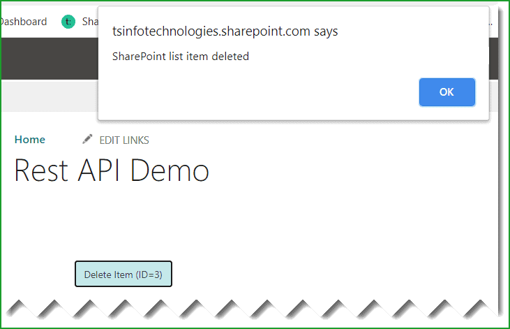 sharepoint rest api delete list item
