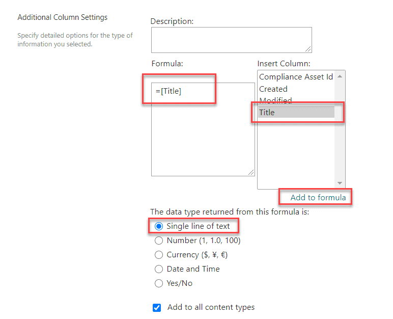 Create a Calculated Column in a SharePoint list or library