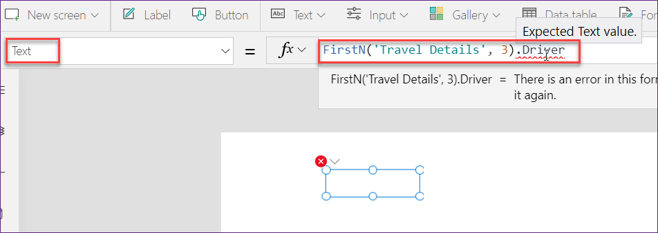 First vs FirstN expression in PowerApps