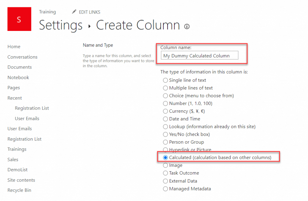 How to Create a Calculated Column in a SharePoint list