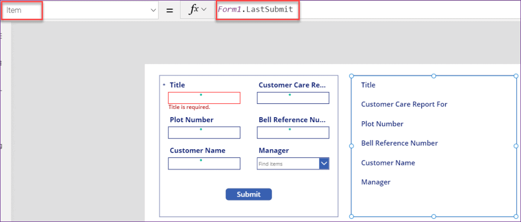 LastSubmit function PowerApps