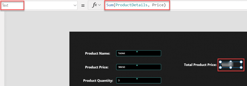 Powerapps forall sum function