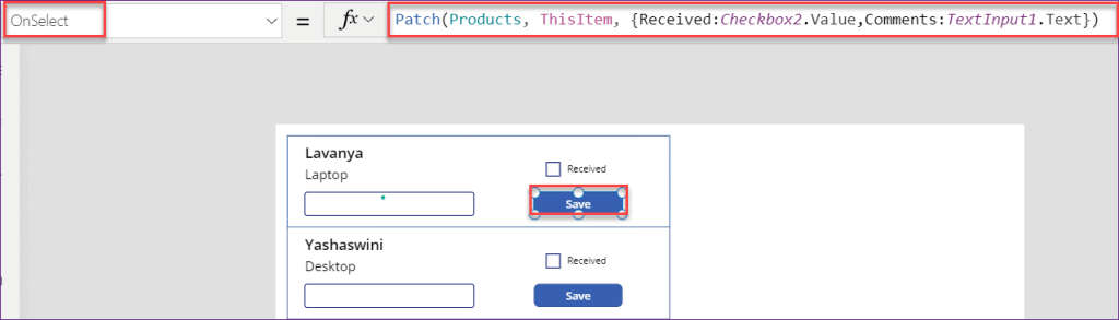 PowerApps checkbox control in gallery