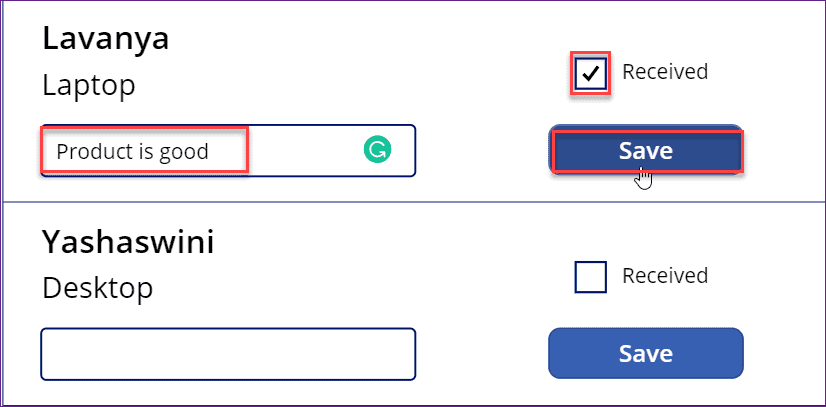 PowerApps checkbox control in gallery control
