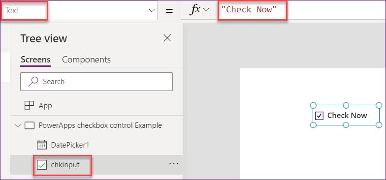 PowerApps checkbox control