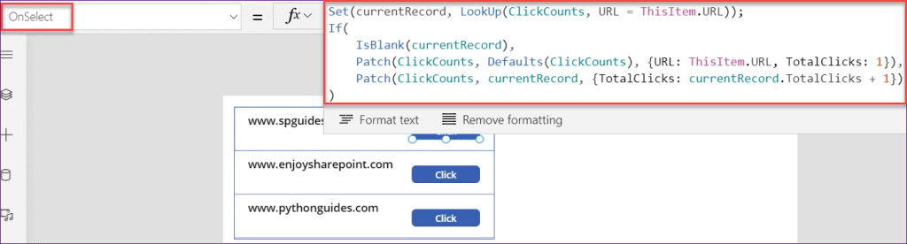 PowerApps count button click