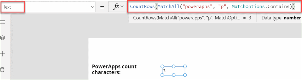 PowerApps count character