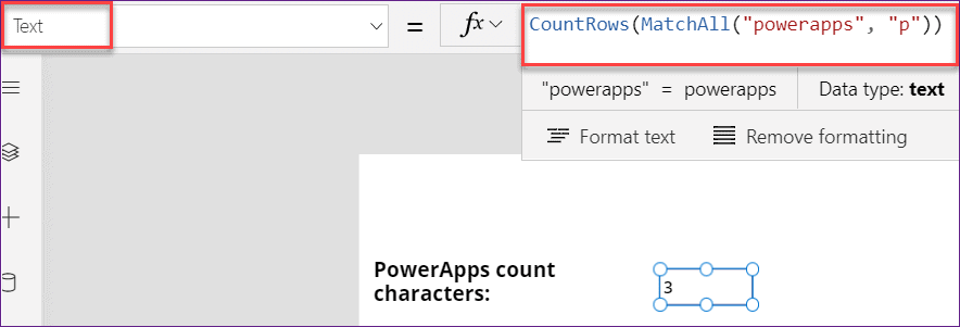 PowerApps count characters