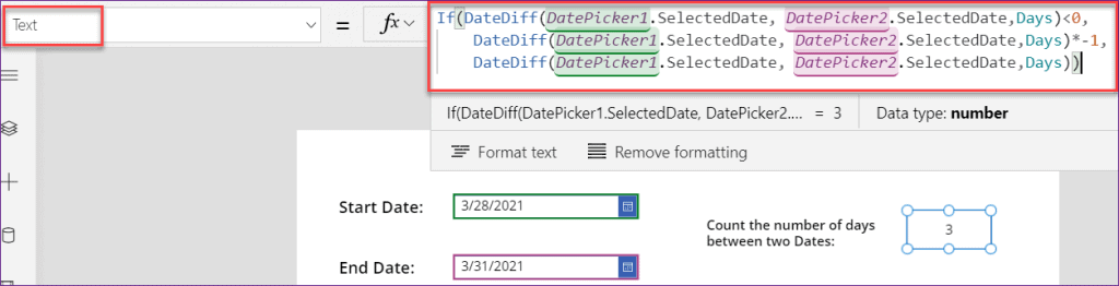 PowerApps count days between two dates
