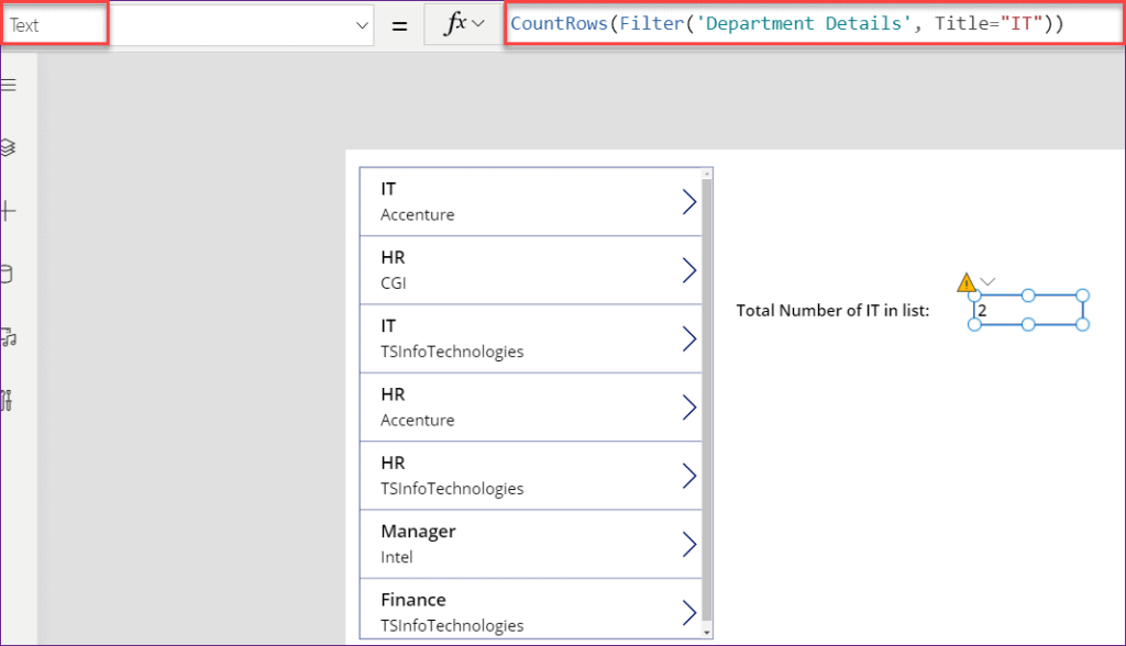 PowerApps count filter