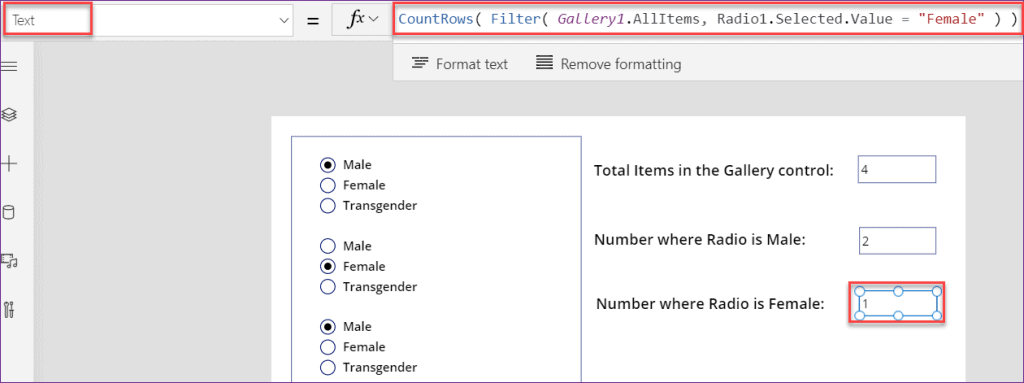 PowerApps count item in gallery
