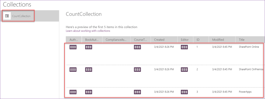 PowerApps count items in collection