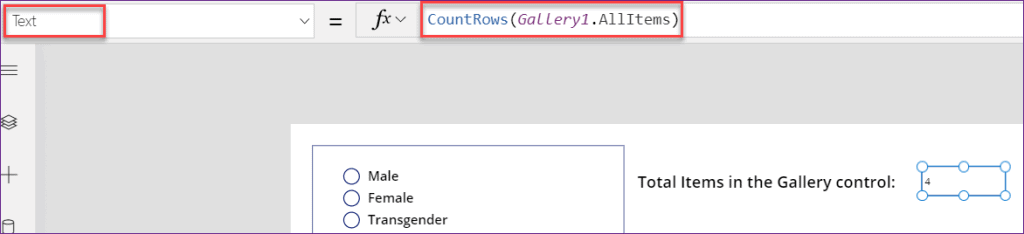 PowerApps count items in gallery control