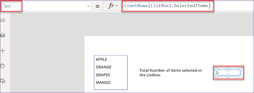 PowerApps count items in the listbox