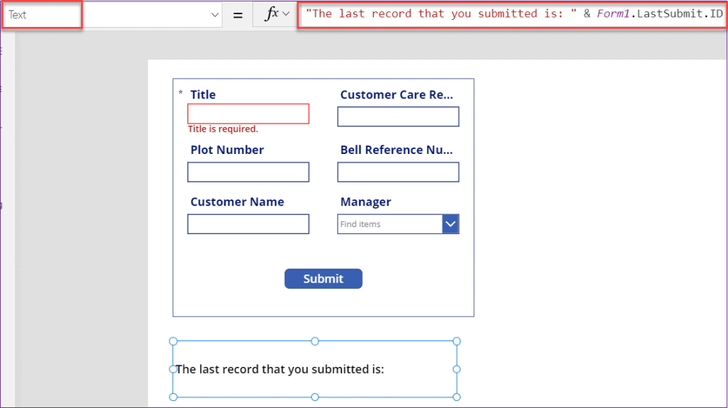 PowerApps lastsubmit id