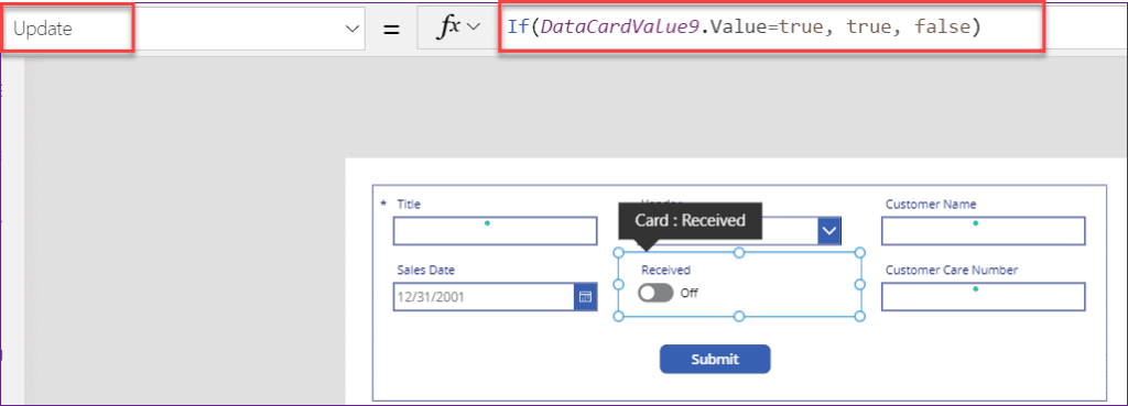PowerApps yes no checkbox