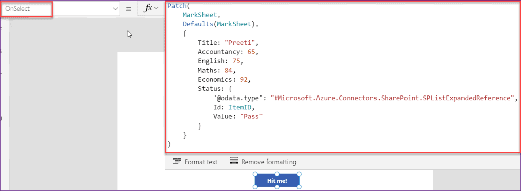 Save Choice field value in PowerApps Patch function