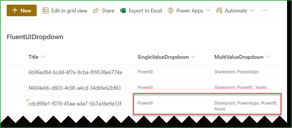 SharePoint framework fluent ui react dropdown example