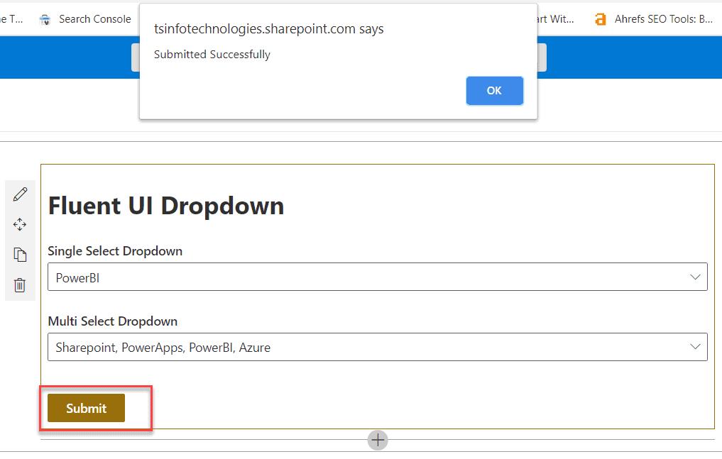 spfx fluent ui react dropdown example