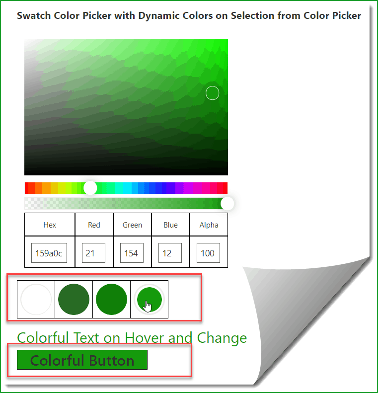 SPFx SwatchColorPicker Office UI Fabric React Control example