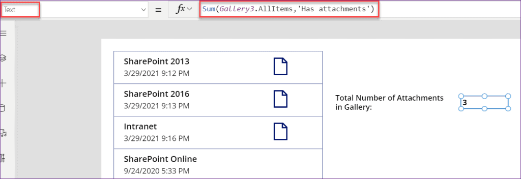 count attachment in PowerApps
