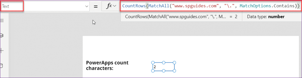 count character in PowerApps