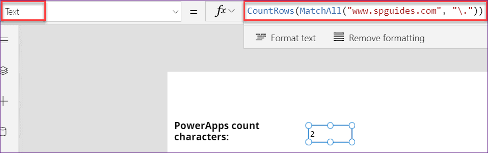 count characters in PowerApps