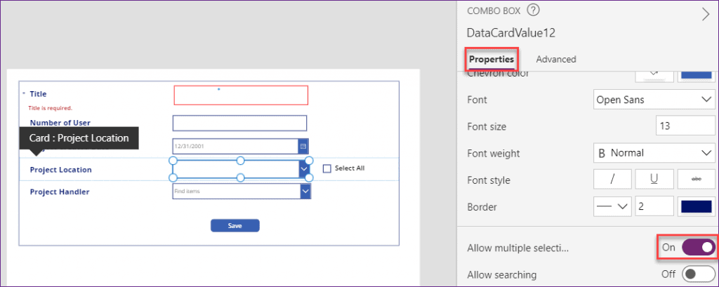 multichoice checkbox in PowerApps