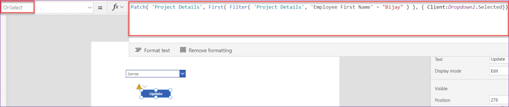 powerapps patch function dropdown values
