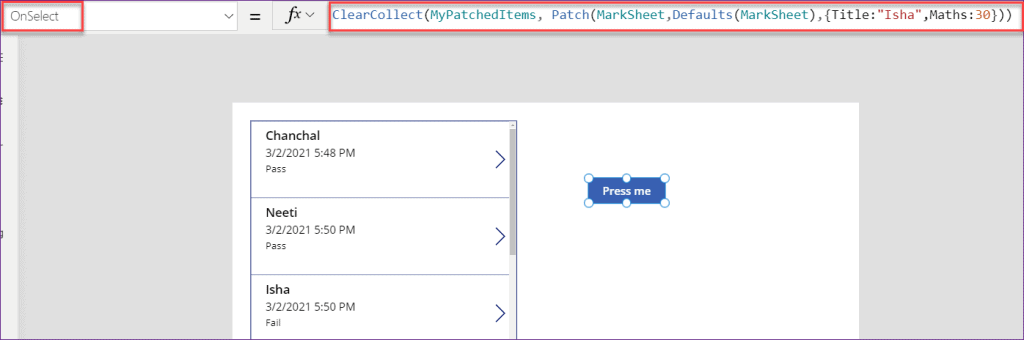 powerapps patch function return value